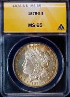 1878-S Morgan Silver Dollar Rare Sharp ANACS MS65
