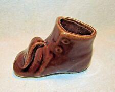 Vintage 1950s Brown Ceramic Baby Shoe Planter 1950s