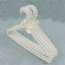 Clothes Hangers Kid Children Bow Pearl Beaded White Plastic 1 Pc Fashion 11.8""