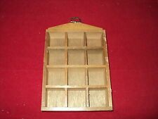 Thimble wooden display case with wall hook holds 12 thimbles  code B12