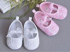 Elegante Encaje BAUTIZO zapatos bebé niña Zapatitos para bordado de cochecito