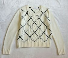 PARKER WEAVED FAUX LEATHER CHUNKY KNIT SWEATER TOP $248 S