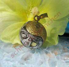 Anhänger Engelsrufer Yin Yang Symbol Kugel gold schwarz marmoriert Klangkugel