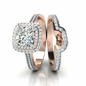 Real 14KT Rose Gold Round 1.35 Ct Solitaire Engagement Ring with Band 6 7 8