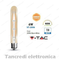 Lampadina led V-TAC 6W = 50W E27 VT-2006 T30-185 filamento lampada vintage ambra