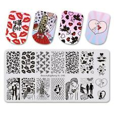 Nail Art Stamping Plate Image Decoration Valentines Day Love Hearts Lips (BBB46)