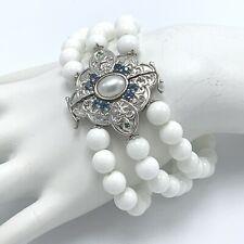 "Dallas Prince White Onyx 3 Strand Bracelet 8"" Blue Sapphire Sterling Silver"