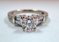 Gorgeous 14K White GOLD Blazing excellent 0.80 ctw Diamond Engagement RING sz 4