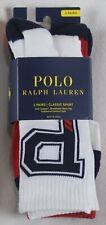 Polo Ralph Lauren 3 Pairs P Logo Red White Blue Cotton Sport Socks 10-13 NWT