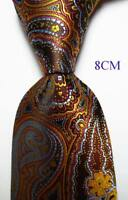 New Classic Paisley Gold Brown Blue JACQUARD WOVEN 100% Silk Men's Tie Necktie
