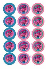 "15 Precut Trolls Movie Poppy Color Borders 1"" Bottle Cap Images for bows/Jewelry"