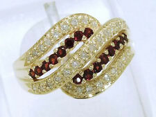 R110-SUPERB 9ct Solid Gold NATURAL Garnet & Diamond DOME Ring size N