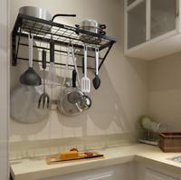 Wall Mount Kitchen Pot Pan Rack Shelf Utensils Cookware Hanger Holder With Hooks