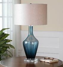 NEW DARK BLUE GLASS WITH CRYSTAL ACCENTS TABLE LAMP LINEN SHADE READING LIGHT