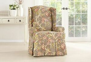 sure fit Waverly Casablanca Rose tan floral waverly wing chair NEW washable
