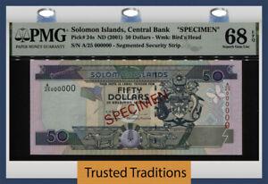TT PK 24s 2001 SOLOMON ISLANDS 50 DOLLARS SPECIMEN PMG 68 EPQ TIED AS BEST!