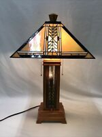 Arts & Crafts Mission Table Lamp Stained Slag Glass Shade Tiffany Style Desk Vtg
