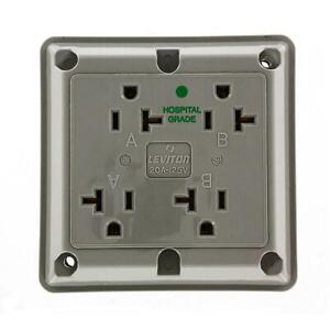 Leviton 20 Amp Hospital Grade Extra Heavy Duty Grounding 4-in-1 Outlet, Gray