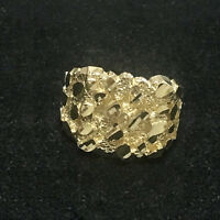 MEN'S REAL SOLID 10K YELLOW GOLD MEDIUM NUGGET SQUARE PINKY RING