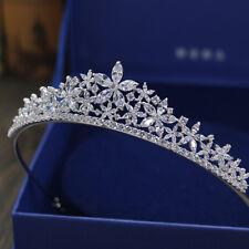 Cubic Zircon Crystals Wedding Tiara Crown Hair Costume Party Ladies