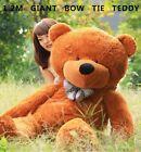 New Huge 120cm Giant Brown Teddy Bear Bow Tie Cuddly Soft Plush Toy Doll Stuffed