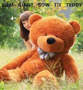 HUGE 120CM GIANT BROWN TEDDY BEAR BOW TIE CUDDLY SOFT PLUSH TOY DOLL STUFFED
