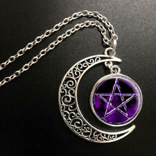 Pentagram moon wiccan pagan wicca Moon Necklace Glass Jewelry Silver Pendant