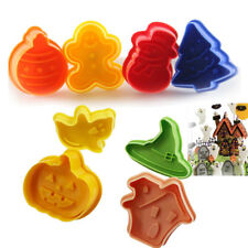 8PCS Christmas Halloween Plunger Cookie Cutter Decorating Tool Fondant Cake Mold
