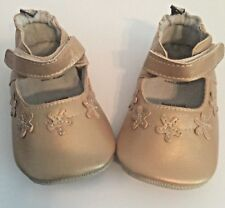 Tommy Tickle Cruzer Crib Shoes Baby Girl 18-24M XL Gold Genuine Leather New