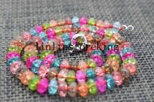Beautiful 5x8mm Multicolor Tourmaline Gems Faceted Abacus Beads Necklace 18''
