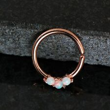 1 Rose Gold Plated white Opal Bendable Septum/ Cartilage Hoop Ring 16g 3/8""