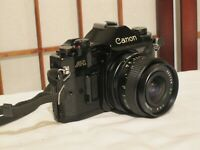 CANON A-1 SLR 35mm FILM CAMERA with BESTON M.S. 1:2.8 f=28mm