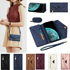 Leather Crossbody Zipper Card Holder Wallet Case Cover For Samsung S20 Ultra S10