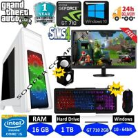 Gaming PC Computer Bundle Intel Quad Core i5 16GB 1TB Win10 2GB GT710 SUPER FAST