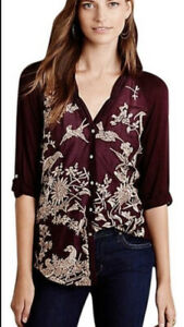 Anthropologie Tiny Embroidered Quintana Button Up Birds Size XS