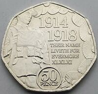 2018 Isle of Man Armistice Centenary 50p coin - Circulated
