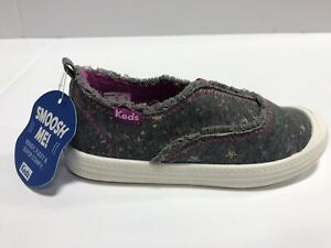Keds Breaker Slip On Grey Star Casual Shoes Youth Girl's Size 11M Grey/Purple
