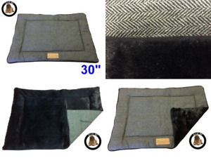 Ellie-Bo Reversible Tweed and Black Faux Fur Mat Bed for Medium 30 inch Dog...