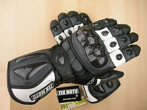 Tek Moto Motorcycle Gloves - Gray with Leather Carbon Fiber Gauntlet