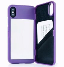 iPhone X / XS - PURPLE Hidden Mirror Wallet Case Cover with Stand + Card Holders