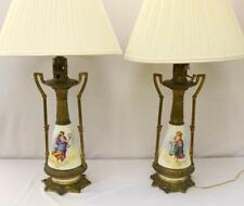 Antique French Hand Painted Porcelain & Bronze Handled Lamps Lot 163