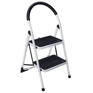 Portable Non-slip 2 Step Ladder Folding Steel Step Stool 330Lbs Load Capacity US