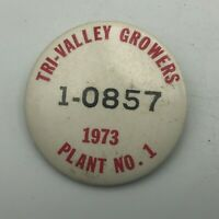 1973 Tri-Valley Growers California Canning Employee ID Badge Pin Vtg Rare   S7
