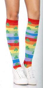 Women's Striped Knee Socks Shamrock Rainbow Solstice Festival Leg Avenue 5212