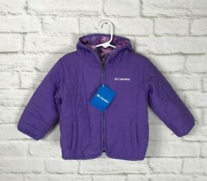 NEW Columbia Girls Purple Reversible Hooded Jacket Size 3T