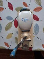 More details for vintage de-ve holland white blue wall mounted coffee grinder