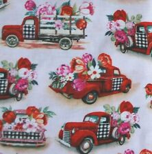 Valentine Truck Fabric Fat Quarter  cotton buffalo check Valentine's Day decor