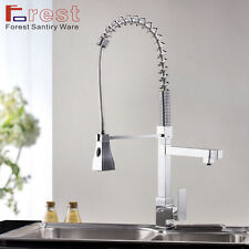 """28""""Single Handle Pull down Square High Pressure Kitchen Brass sink Mixer Faucet"""