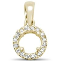.06ct F SI 14kt Yellow Gold Round Diamond Semi Mount Pendant