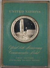 1970 United Nations UN Twenty-Fifth Anniversary Silver Medal First Edition
